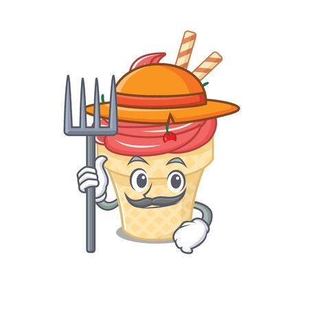 Cherry ice cream in Farmer cartoon character with hat and pitchfork