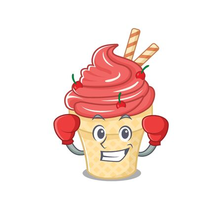 A sporty cherry ice cream boxing mascot design style