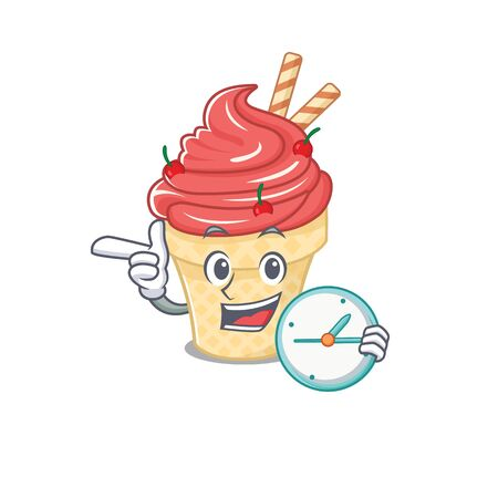 Cheerful cherry ice cream cartoon character style with clock Ilustrace