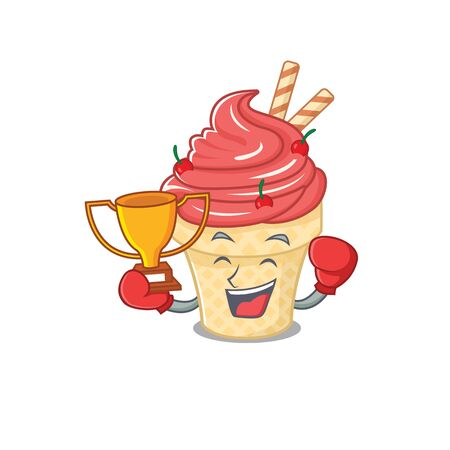 Happy face of boxing winner cherry ice cream in mascot design style