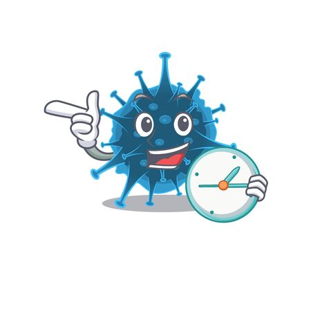 Cheerful moordecovirus cartoon character style with clock Ilustrace
