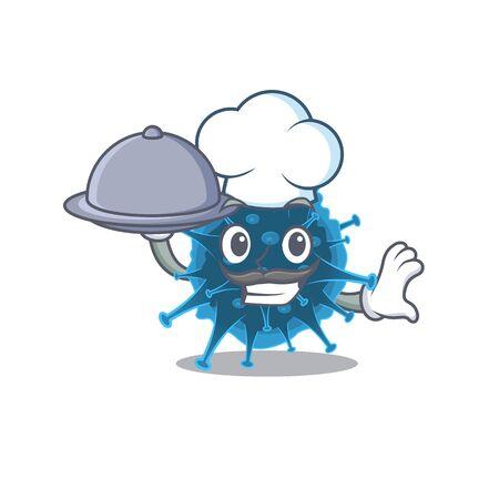 Moordecovirus as a chef cartoon character with food on tray