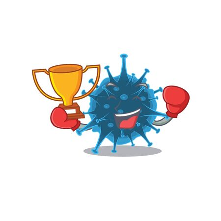 Happy face of boxing winner moordecovirus in mascot design style