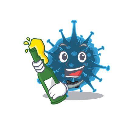 Moordecovirus with bottle of beer mascot cartoon style
