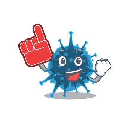 Moordecovirus mascot cartoon style with Foam finger