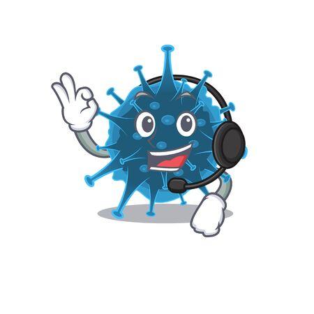 Charming moordecovirus cartoon character design wearing headphone