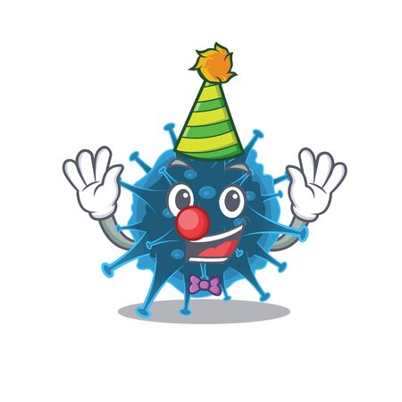 Cute and Funny Clown moordecovirus cartoon character mascot style 向量圖像
