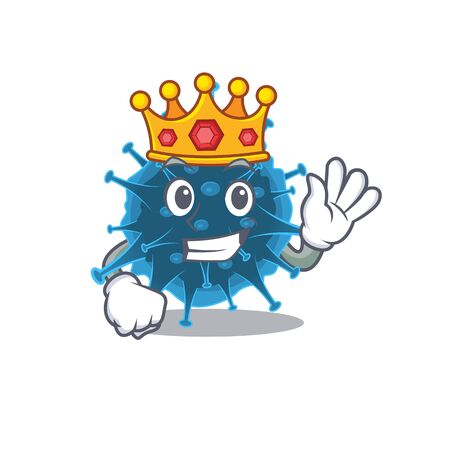 The Royal King of moordecovirus cartoon character design with crown