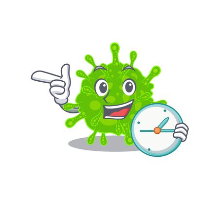 Cheerful flaviviridae cartoon character style with clock