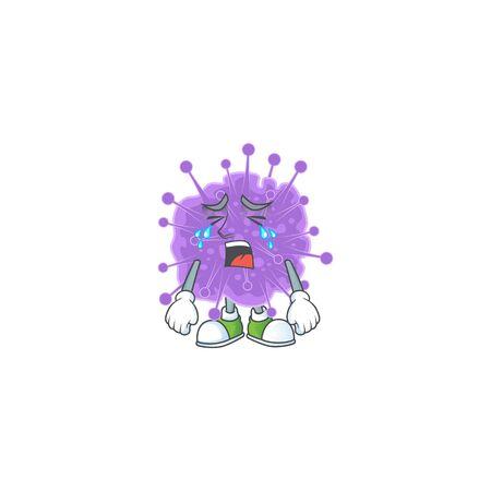A Crying face of coronavirus influenza cartoon character design. Vector illustration