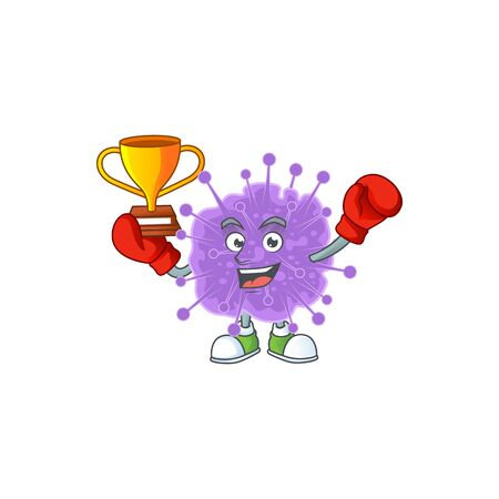 Happy face of boxing winner coronavirus influenza in mascot design style. Vector illustration