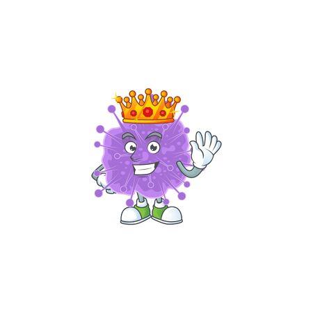 A Charismatic King of coronavirus influenza cartoon character design. Vector illustration