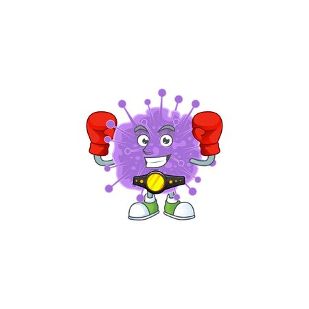 A sporty boxing of coronavirus influenza mascot design style. Vector illustration