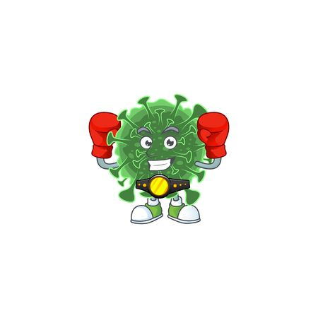 A sporty boxing of  coronavirus mascot design style. Vector illustration 向量圖像