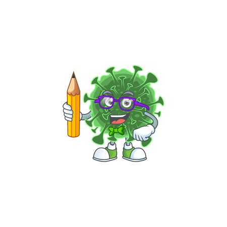 coronavirus clever student character using a pencil. Vector illustration Ilustração
