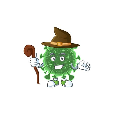 sweet and tricky Witch  coronavirus cartoon character. Vector illustration