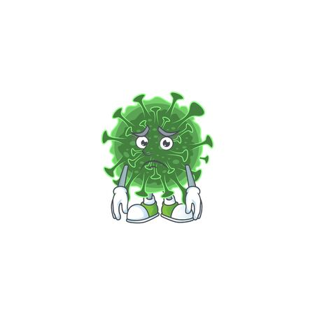 coronavirus mascot design style with worried face. Vector illustration