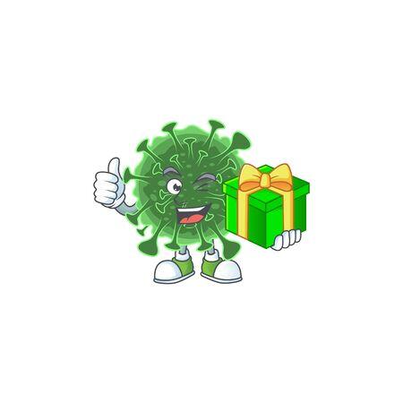 Cheerful  coronavirus cartoon character holding a gift box. Vector illustration Illustration