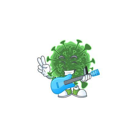 Supper talented  coronavirus cartoon design with a guitar. Vector illustration