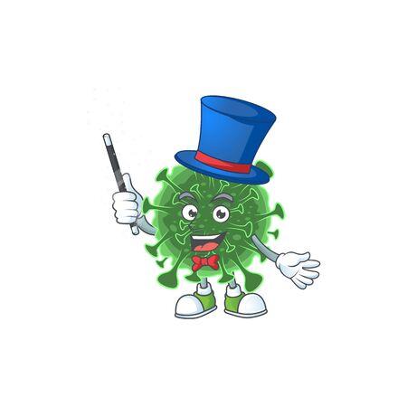 Charming  coronavirus cartoon design performance as a Magician style. Vector illustration 向量圖像