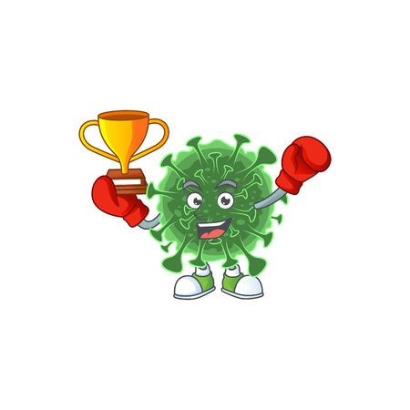 Happy face of boxing winner   coronavirus in mascot design style. Vector illustration 向量圖像