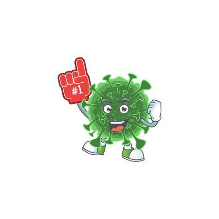 coronavirus presented in cartoon character design with Foam finger. Vector illustration