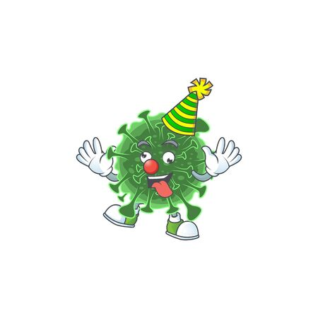 Cute and Funny Clown  coronavirus presented in cartoon character design concept. Vector illustration