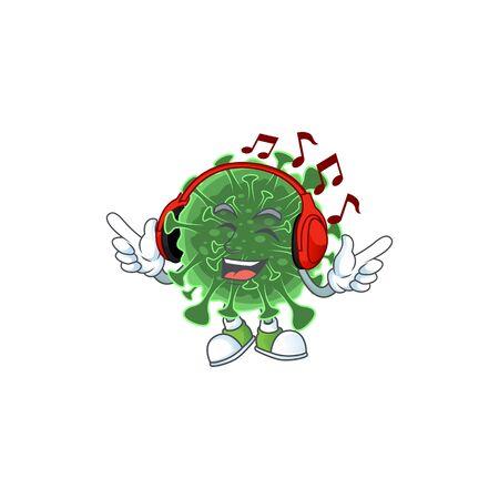 cartoon mascot design of  coronavirus enjoying music. Vector illustration