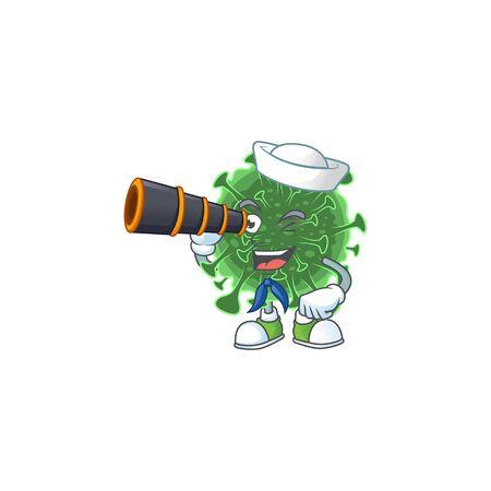 coronavirus in Sailor cartoon character design with binocular. Vector illustration