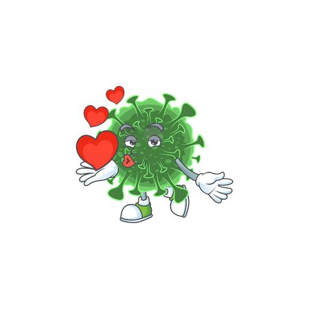 A romantic cartoon character of  coronavirus with a heart. Vector illustration