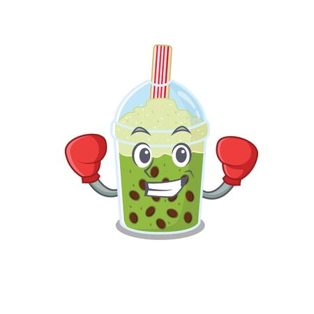A sporty matcha bubble tea boxing mascot design style. Vector illustration