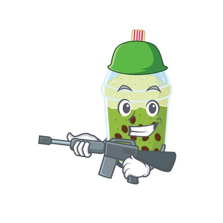 A picture of matcha bubble tea as an Army with machine gun
