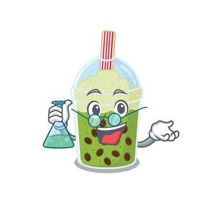 Smart Professor of matcha bubble tea mascot design holding a glass tube. Vector illustration Illustration
