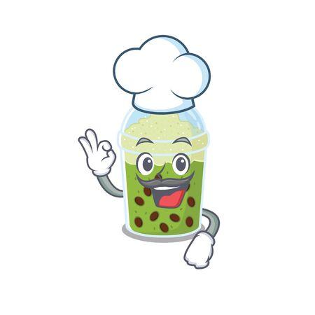 Cute matcha bubble tea cartoon character wearing white chef hat