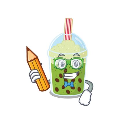 A smart student matcha bubble tea character with a pencil and glasses Ilustração