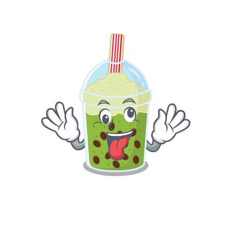 A picture of crazy face matcha bubble tea mascot design style Vektorové ilustrace