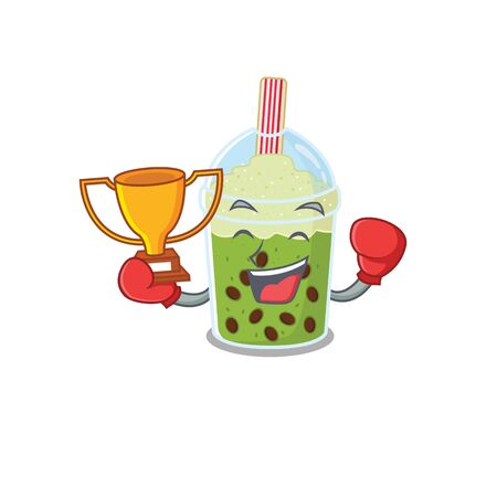 Happy face of boxing winner matcha bubble tea in mascot design style