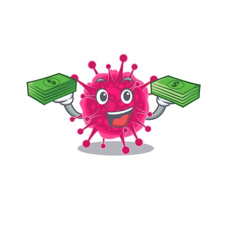 A wealthy picornaviridae cartoon character having money on hands. Vector illustration 일러스트