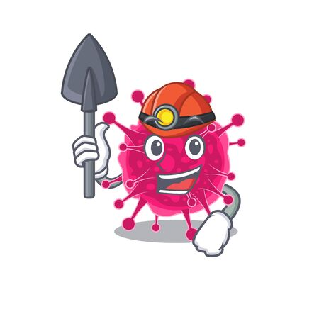 Picornaviridae miner cartoon design concept with tool and helmet. Vector illustration