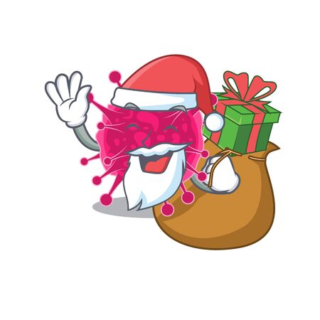 Cartoon design of picornaviridae Santa with Christmas gift. Vector illustration 일러스트