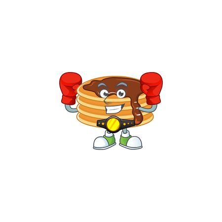 A sporty chocolate cream pancake boxing athlete cartoon mascot design style