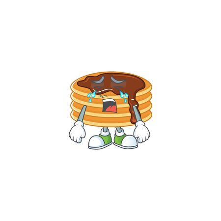 A weeping chocolate cream pancake cartoon character concept. Vector illustration