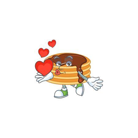 An adorable cartoon design of chocolate cream pancake holding heart. Vector illustration