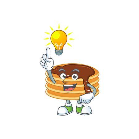 A genius chocolate cream pancake mascot character design have an idea