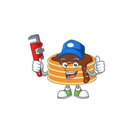 Mascot design concept of chocolate cream pancake work as smart Plumber