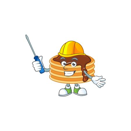 Smart automotive chocolate cream pancake presented in mascot design style Vector Illustration