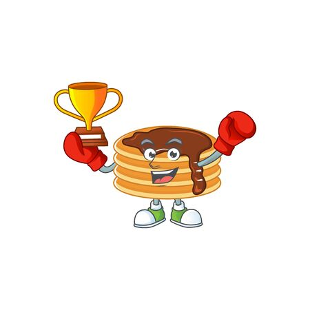 Proudly face of boxing winner chocolate cream pancake presented in cartoon character design
