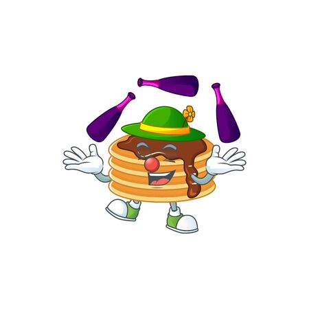 Mascot cartoon style of chocolate cream pancake playing Juggling on stage