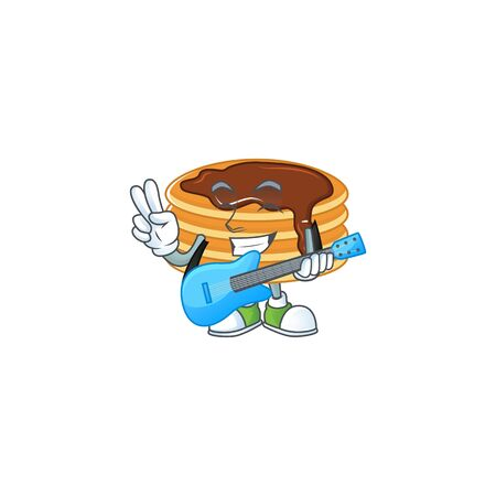 Happy face of chocolate cream pancake cartoon plays music with a guitar Illustration