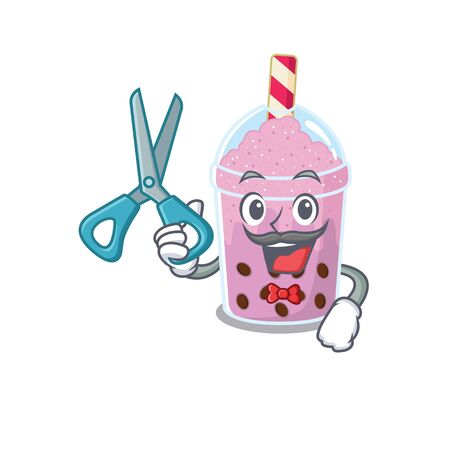 Sporty taro bubble tea cartoon character design with barber. Vector illustration Illustration